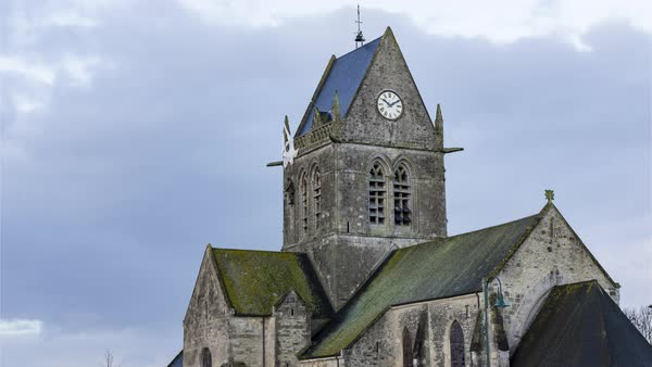 Timelapse of Sainte-Mère-Église, France - The Church Royalty-free stock video