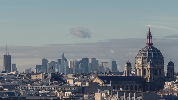 Timelapse of Paris, France - The Saint Augustin Church and la Defense Royalty-free stock video