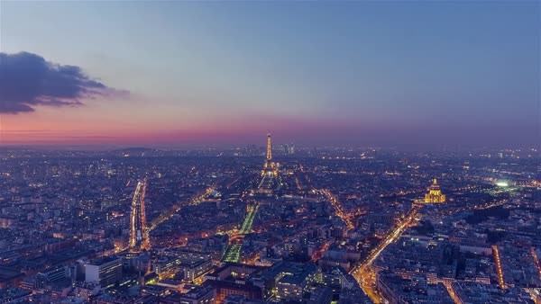 Timelapse of Paris, France - Panoramic view of Paris Day to Night Royalty-free stock video
