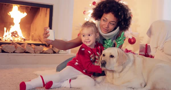 Pretty Smiling Young Woman Stroking Her Golden Retriever Dog As They
