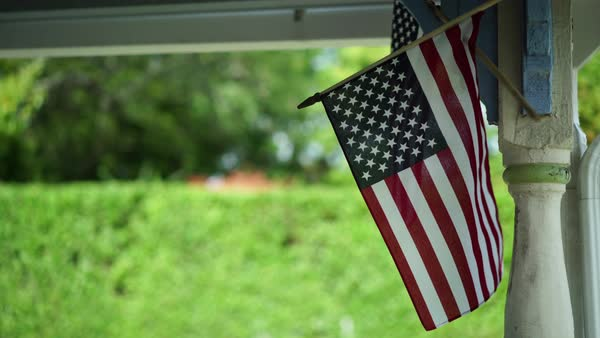 Hand-held shot of an american flag Royalty-free stock video