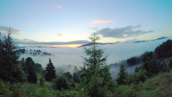 Sunrise in the Summer Mountains with Clouds and Fog. Timelapse. Royalty-free stock video
