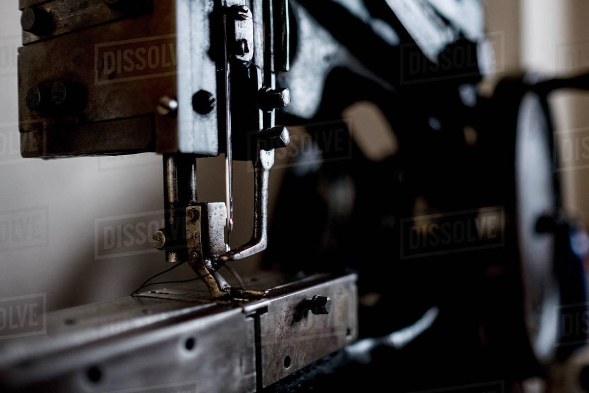 Close up of saddlery sewing machine in a saddler's workshop. Royalty-free stock photo