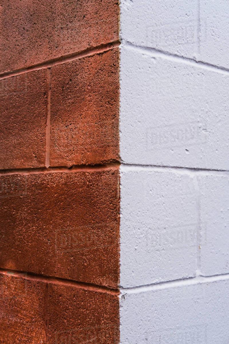 Exterior corner of painted brick walls, close up Royalty-free stock photo