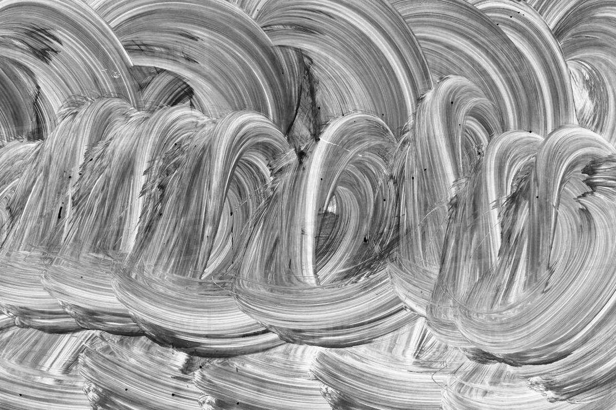 Paint and brush strokes covering glass, surface pattern close up Royalty-free stock photo