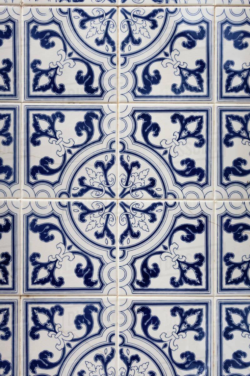 Vintage blue tiles, Algarve, Portugal Royalty-free stock photo
