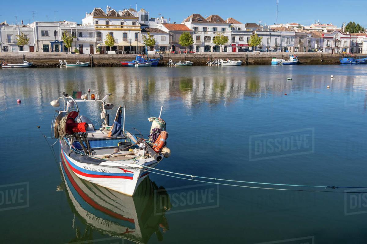 Fishing boats at Tavira; Eastern Algarve; Portugal Royalty-free stock photo