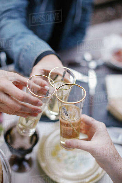 Three people making a toast, clinking glasses.  Royalty-free stock photo