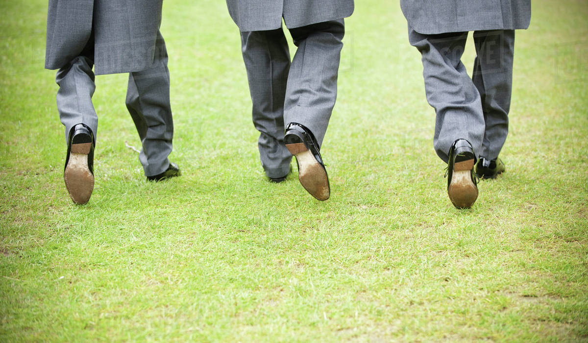 Groom And Two Best Man In Black Shoes Grey Trousers And Morning