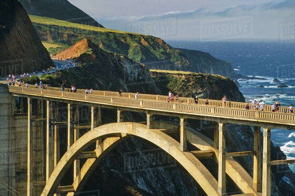Big Sur Marathon runners on Bixby bridge, Big Sur, California Royalty-free stock photo