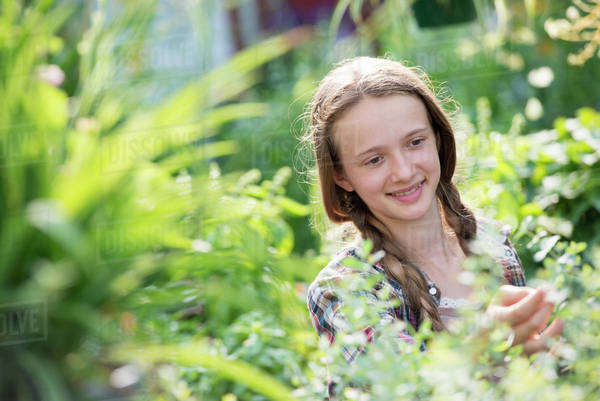 Summer on an organic farm. A young girl in a plant nursery full of flowers. Royalty-free stock photo