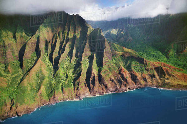 Aerial view on to the Na Pali coast of Kauai, Hawaii Rights-managed stock photo