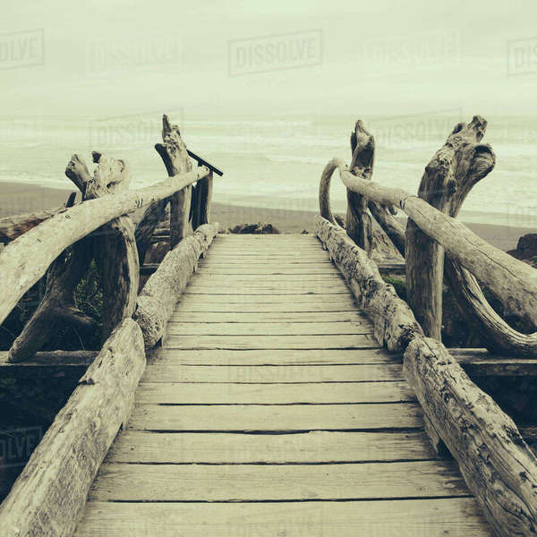Driftwood log bridge facing Pacific Ocean near Kalaloch on the shore of Olympic National Park. Royalty-free stock photo