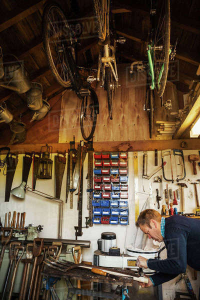 A man standing in a garden workshop, working on an old garden space, surrounded by tools. Equipment on the beams and bicycles hanging from the ceiling.  Royalty-free stock photo