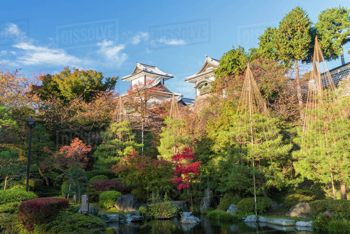 Landscaped garden in autumn with trees pond and pagodas in landscaped garden in autumn with trees pond and pagodas in background workwithnaturefo