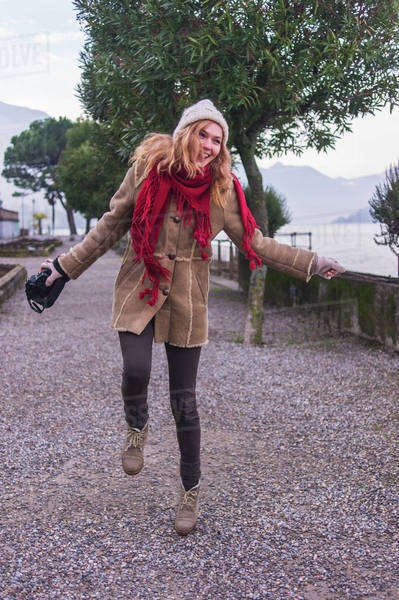Young woman having fun at Lake Como, Italy Royalty-free stock photo