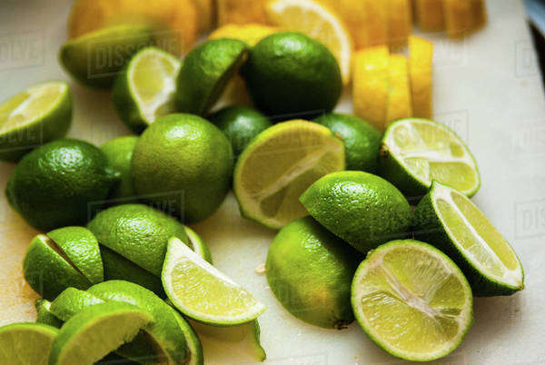 Close-up of limes cut in half Royalty-free stock photo