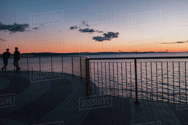 People leaning against a railing by the sea at sunset Royalty-free stock photo