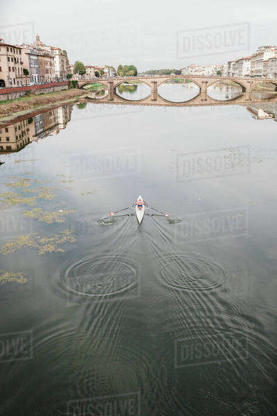 Kayaker rowing on a river Royalty-free stock photo
