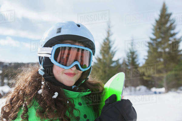 Portrait of girl skiing Royalty-free stock photo