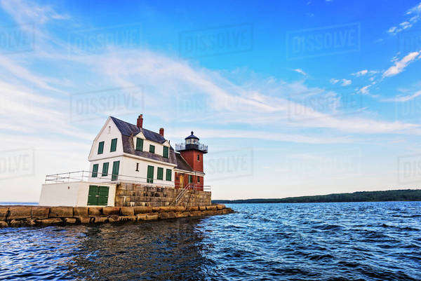 Rockland Breakwater Lighthouse Royalty-free stock photo