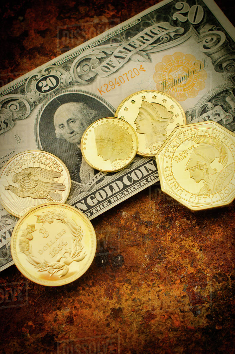 Studio shot of gold coins stock photo