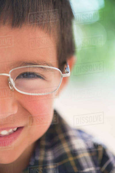 Portrait of boy (6-7) wearing glasses Royalty-free stock photo