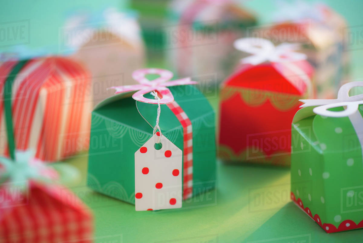 Studio shot of small Christmas presents stock photo