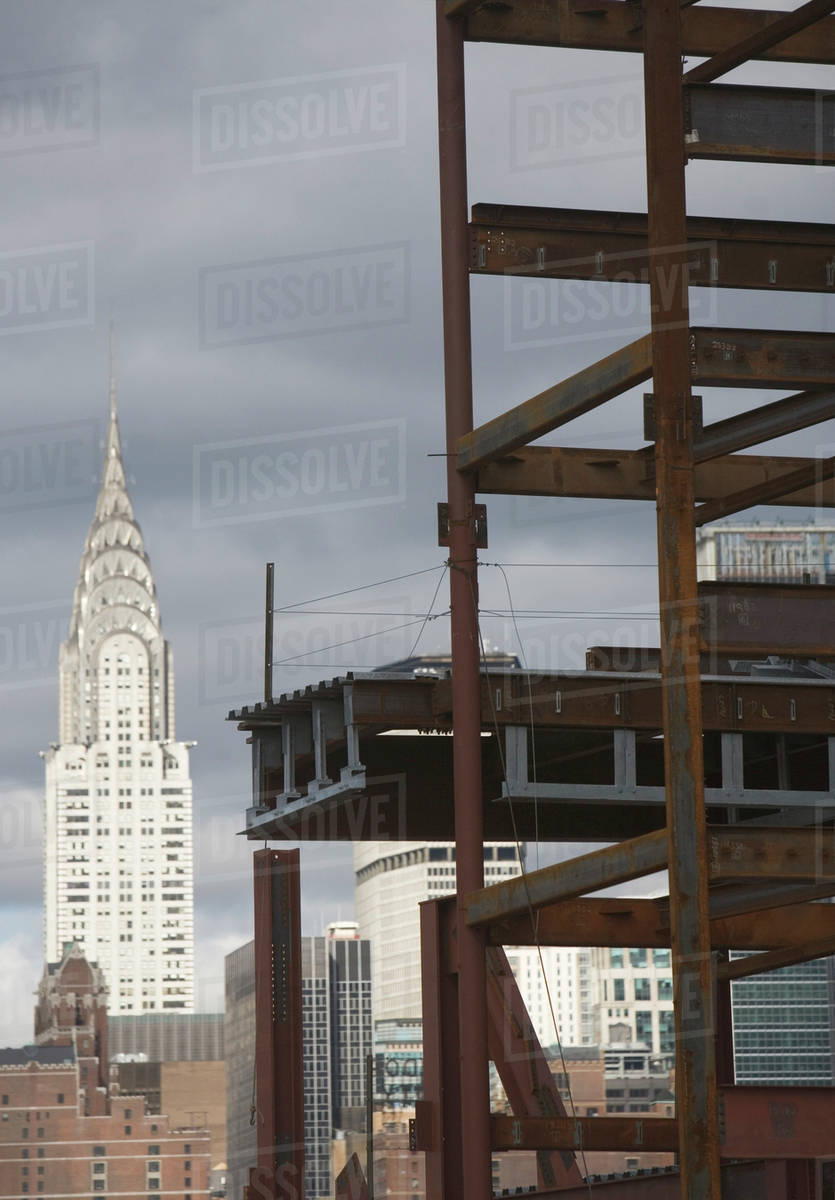 USA New York State City Construction Site And Chrysler Building In Background