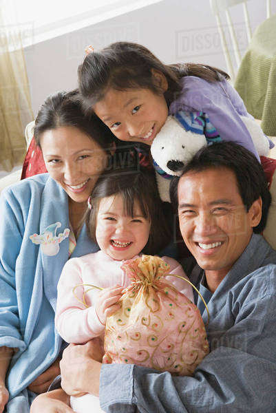 Portrait of family with two daughters (10-11) Royalty-free stock photo