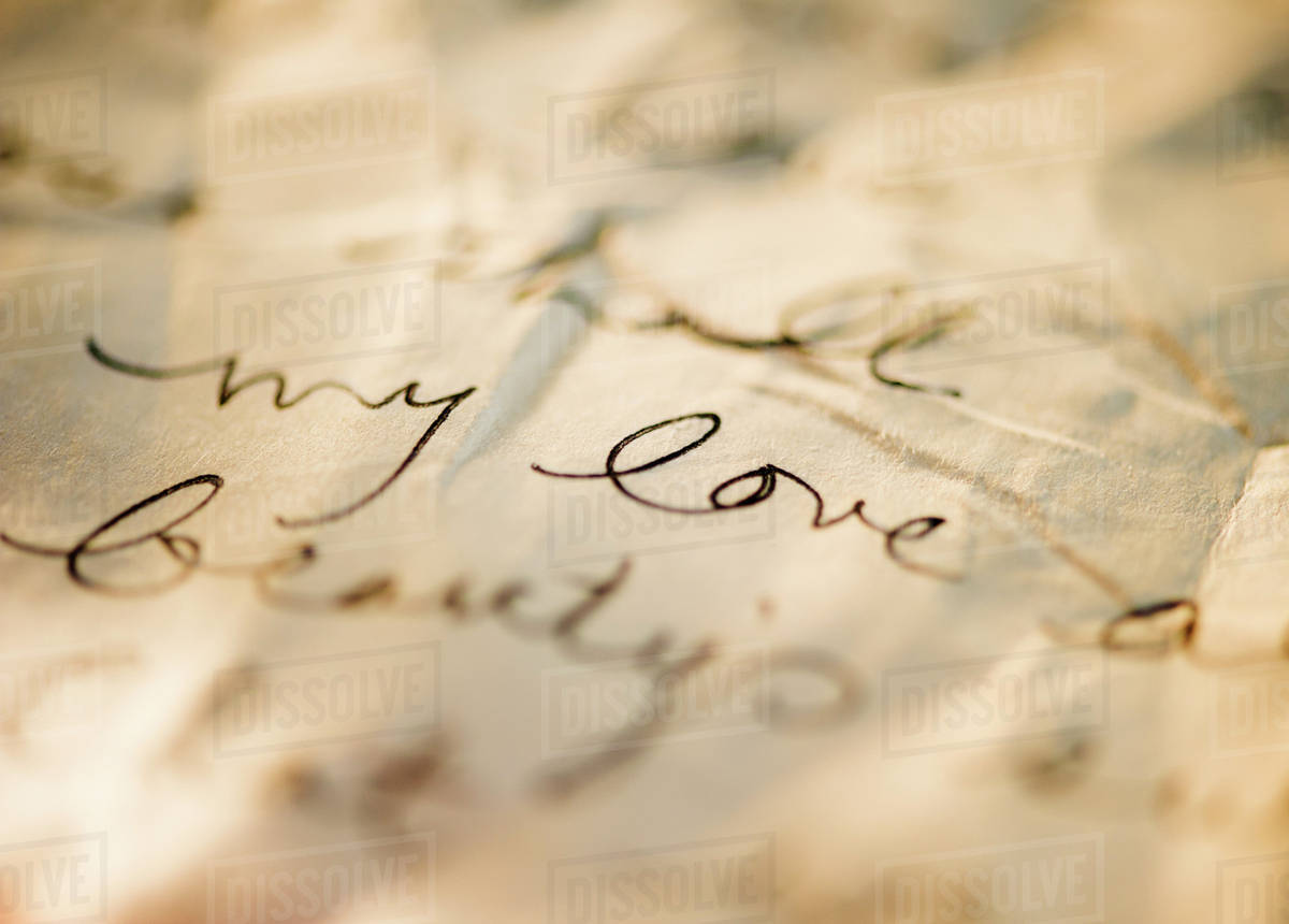 Close Up Of Antique Love Letter On Parchment  Stock Photo  Dissolve