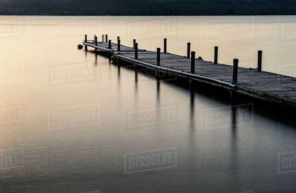 Jetty on lake George in Adirondack region Royalty-free stock photo
