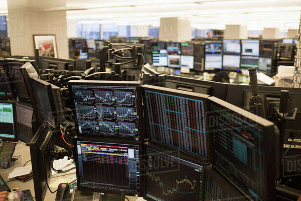 Trading floor with working computers Royalty-free stock photo