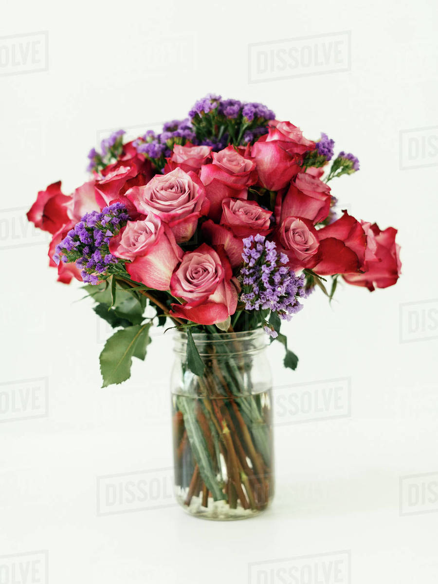 Jar with bouquet of red roses - Stock Photo - Dissolve