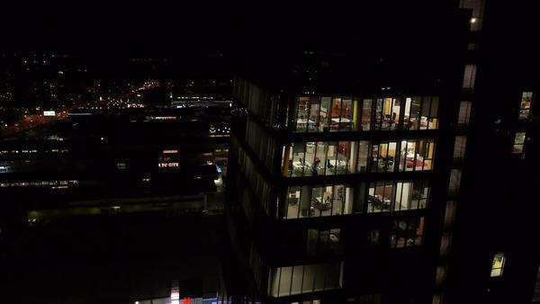 Aerial - Night shot of an office building Royalty-free stock video