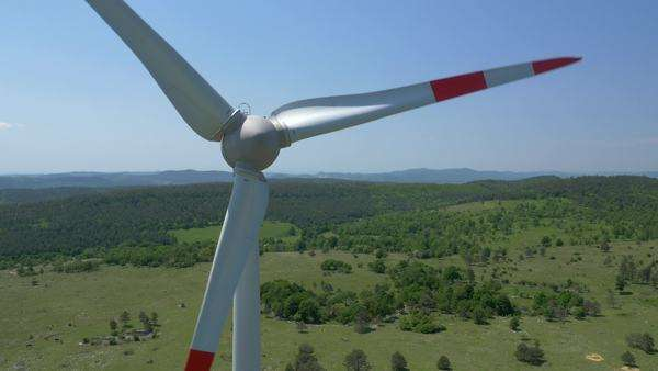 Aerial - Close-up of wind turbine propeller Royalty-free stock video