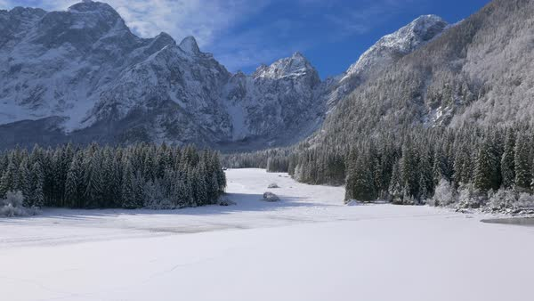 Beautiful wintry scenery of mountains and land in snow Royalty-free stock video