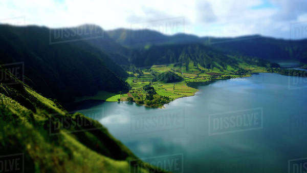 Tilt shift view over a crater lake in the Sao Miguel Island in Azores, Portugal Royalty-free stock photo
