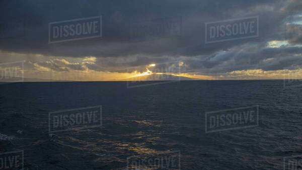 Sunset in the Sao Miguel Island in Azores, Portugal Royalty-free stock photo