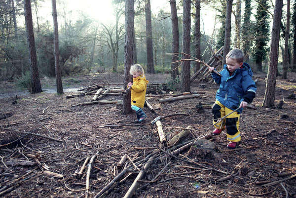 Siblings playing with sticks in forest Royalty-free stock photo