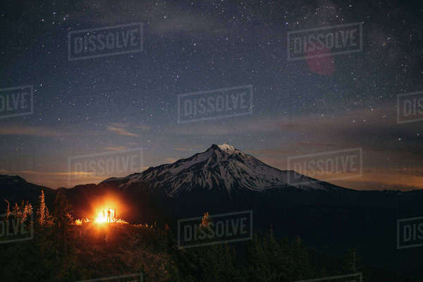 Scenic view of mountain against star field at night Royalty-free stock photo