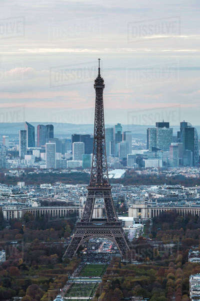 High angle view of Eiffel Tower against sky in city during sunset Royalty-free stock photo