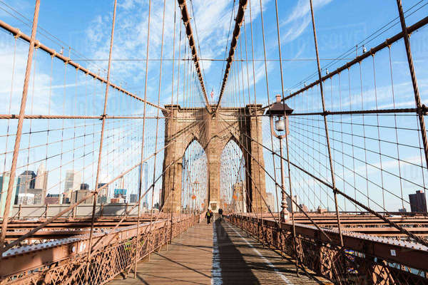 Brooklyn Bridge against sky in New York city Royalty-free stock photo