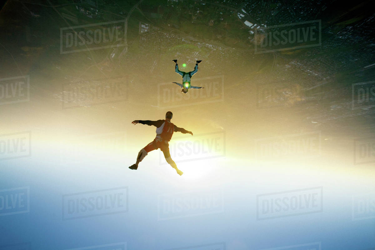 Two men skydiving Royalty-free stock photo
