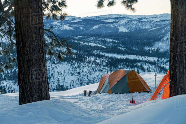 Tent on snowcapped mountain at Yosemite National Park Royalty-free stock photo