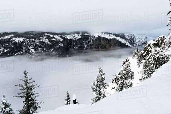 Scenic view of mountains and clouds at Yosemite National Park during winter Royalty-free stock photo