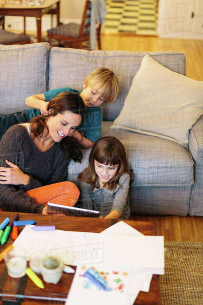 High angle view of children with mother at home Royalty-free stock photo