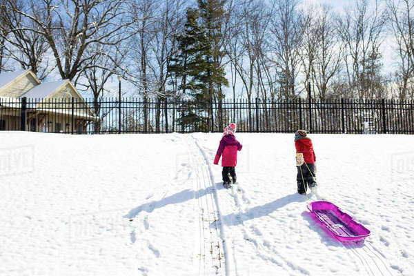 Brother pulling sled while walking with sister on snowy field Royalty-free stock photo
