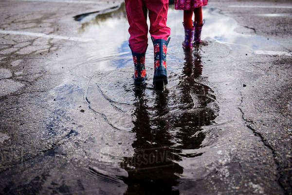 Low section of siblings walking on puddle Royalty-free stock photo