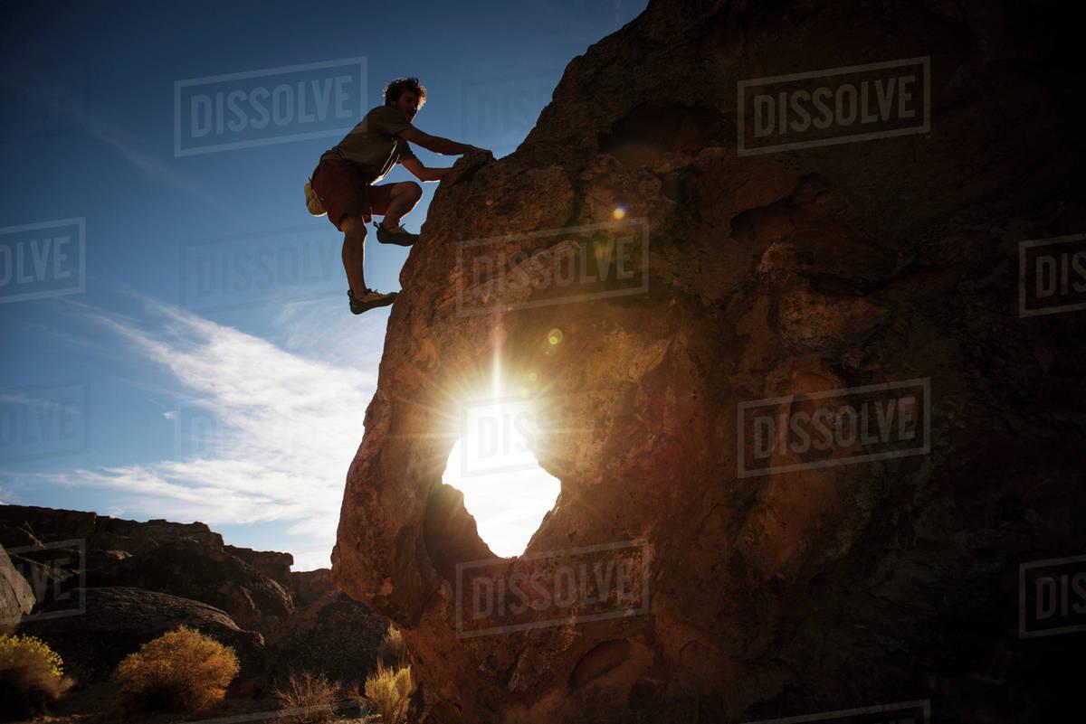 Man rock climbing Royalty-free stock photo